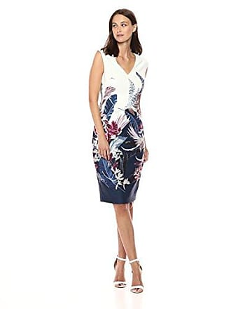 Adrianna Papell Womens Tropical Essence Printed Sheath Dress, Navy Multi 12