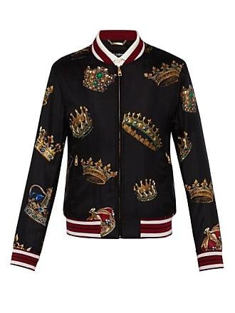 c4d31b898a55 Dolce   Gabbana Bomber en soie à imprimé couronne