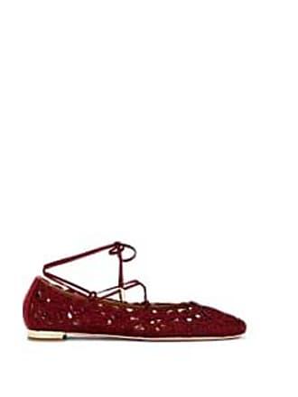 e3a3f6a50aa Aquazzura Womens Kya Embroidered Ankle-Tie Flats - Wine Size 10.5