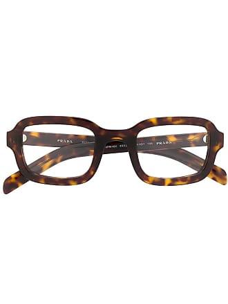 Prada square frame glasses - Marrom