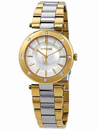 Invicta 23725 Womens Angel Crystal Accented Bezel Silver Dial Two Tone Steel Watch