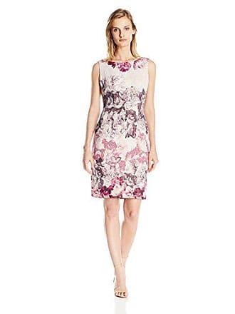 Adrianna Papell Womens Petite Rose Print Sleeveless Sheath Dress, Shell Multi, 10P