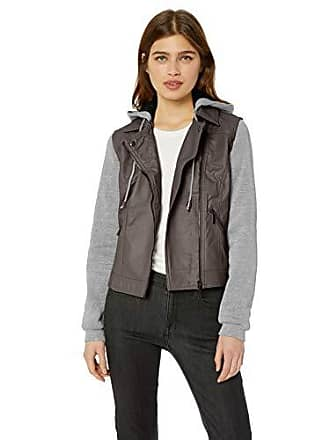 Yoki Womens Sherpa Lined Faux Leather Moto Jacket, Charcoal, Large
