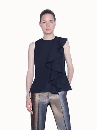 Akris Blouse in Washed Poplin with Asymetrical Ruffled Detail