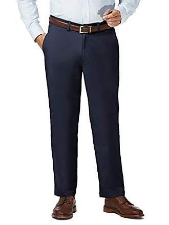 Haggar Mens Big and Tall Coastal Comfort Classic Fit Superflex Flat Front Pant, Blue, 56Wx30L