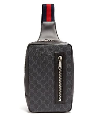 Gucci Gg Supreme Leather Cross Body Bag - Mens - Black