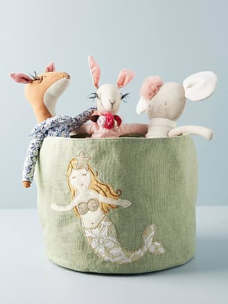 Anthropologie Embroidered Mermaid Mini Toy Bin