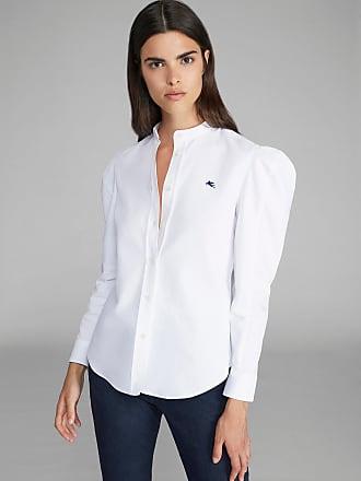 Etro Bluse Aus Baumwollpiqué Mit Pegaso Logo, Damen, Weiß, Größe 44