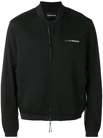 Emporio Armani logo print bomber jacket - Black