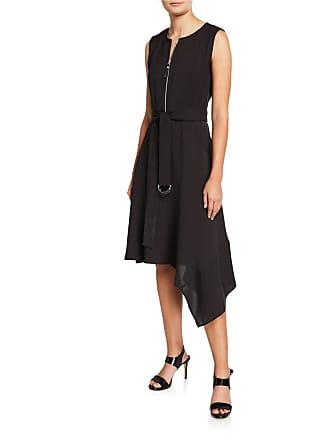 10407685 Lafayette 148 New York Ripley Zip-Front Asymmetric A-Line Belted Dress