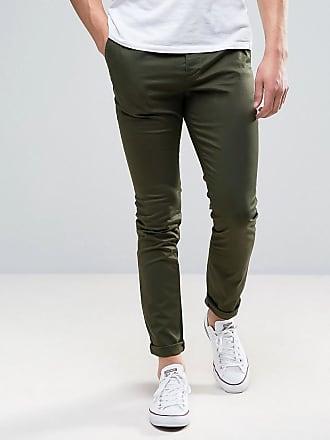 Asos skinny chinos in dark khaki - Green