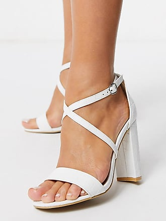 Glamorous cross strap heeled sandal in white mock croc