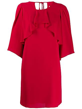 Halston Heritage Vestido com sobreposição de chiffon - Vermelho