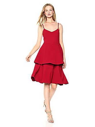 Dress The Population Womens Yasmin Solid Sleeveless Peplum Tiered FIT & Flare MIDI Dress, Garnet, L