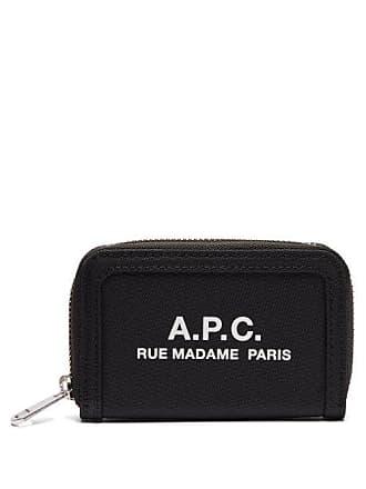 A.P.C. A.p.c. - Logo Printed Zip Around Wallet - Mens - Black