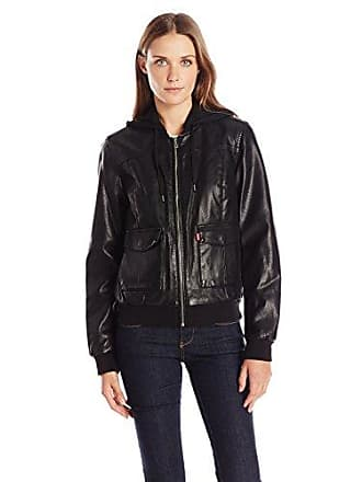 e87f84751d6 Levi s Womens Faux-Leather Bomber Jacket with Jersey Knit Hood
