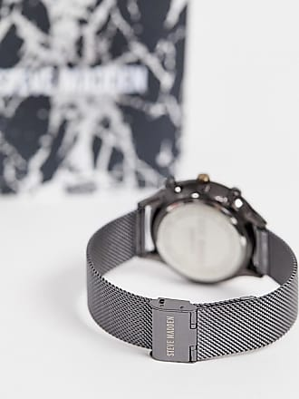 Steve Madden mens mesh watch with gunmetal dial - Black