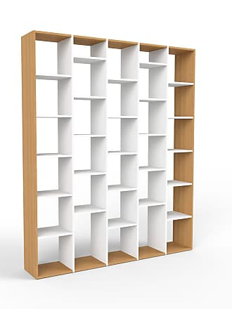 MYCS Bibliotheksregal Weiß - Individuelles Regal für Bibliothek: Einzigartiges Design - 195 x 233 x 35 cm, konfigurierbar