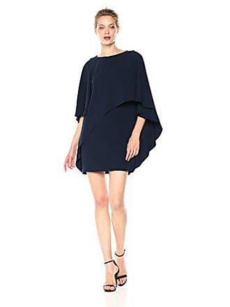 Halston Heritage Womens Flowy Sleeve Boat Neck Asymmetrical Drape Dress, Dark Navy, 0