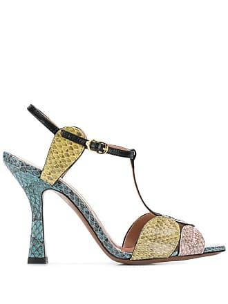 L'autre Chose snakeskin peep toe sandals - Blue