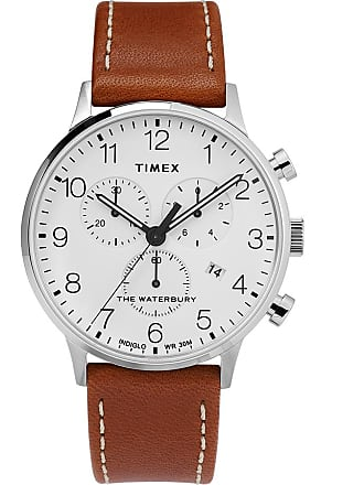 Timex Watch Mens Waterbury Classic Chronograph 40MM Leather Strap Stainless Steel/brown/white Item Tw2T28000Vq