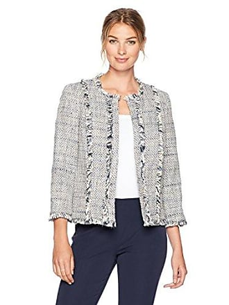 Kasper Womens Flyaway Novelty Tweed Jacket, Ivory/Multi, 6