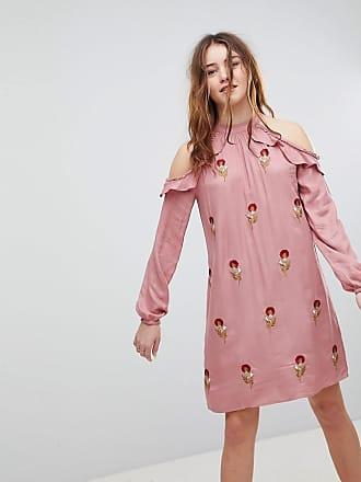 Glamorous Halterneck-klänning med blombroderier - Mörkrosa 5a1080a2162b0