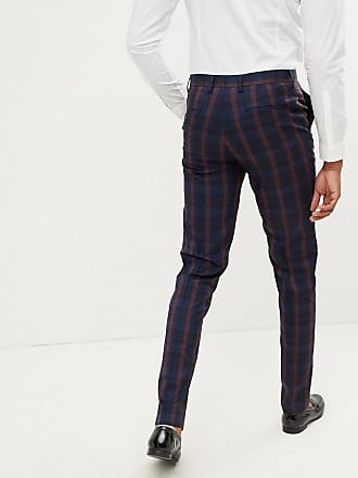 662da9ccb9e5 Harry Brown Tall navy and burgundy check slim fit suit pant - Navy