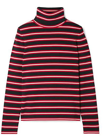 d7b3dea9ff38 Moncler Grenoble Striped Stretch Wool-blend Turtleneck Top - Red