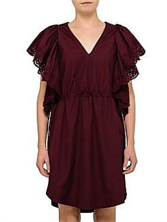 48eb3f2e5590 See By Chloé Poplin V Neck Frill Short Sleeve Dress