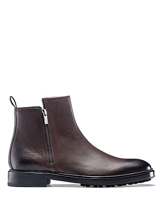 HUGO BOSS Hugo Boss Double-zipper ankle boots in tumbled leather lug sole 11.5 Dark Brown