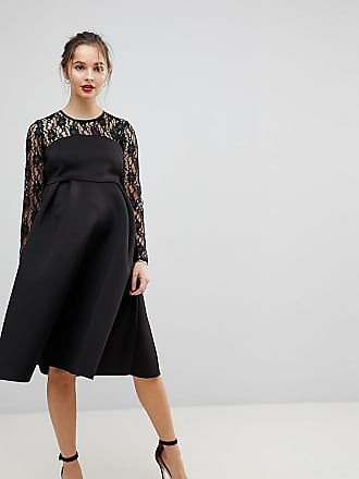 5ce518f9ed9e Asos Maternity Lace Long Sleeve Crop Top Prom Dress - Black