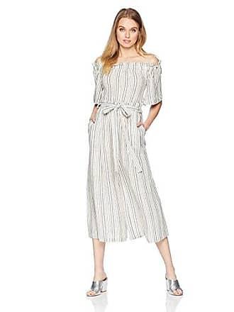 31296008d86 Bcbgmaxazria Womens Off The Shoulder Linen Striped Jumpsuit