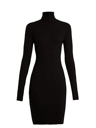 Wolford Roll Neck Ribbed Knit Wool Blend Dress - Womens - Black