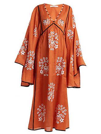 Vita Kin Spanish Pigeon Embroidered Linen Dress - Womens - Orange
