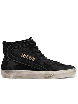 a8b88f56fa1c Golden Goose Slide Distressed Leather-trimmed Suede High-top Sneakers -  Black