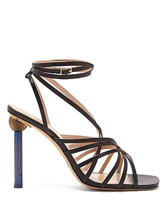 Jacquemus Pisa Mismatched Heel Leather Sandals - Womens - Black