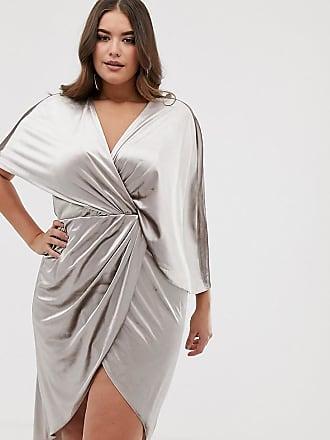 Asos Curve ASOS DESIGN Curve - Vestito midi in velluto con maniche  asimmetriche stile kimono - e9d82252f07