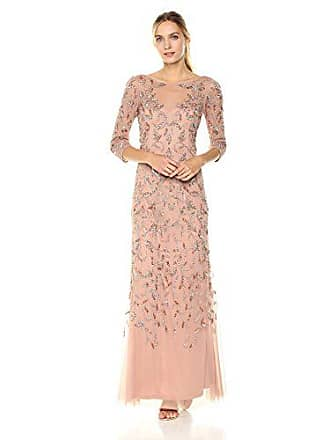 Adrianna Papell Womens Elbow Sleeve Dress Gown with Floral Scroll Beading, Rosegold, 6