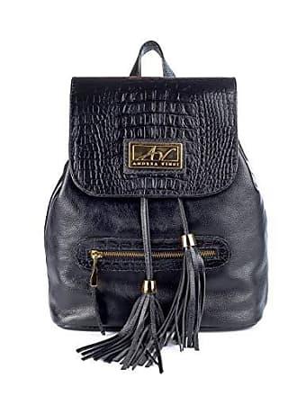 Andrea Vinci Mochila saco feminina em couro legítimo preta