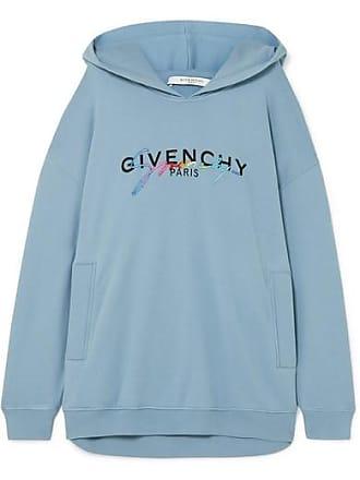 1042fd97eaf Givenchy Sweat À Capuche Oversize En Jersey De Coton Imprimé À Broderies -  Bleu clair