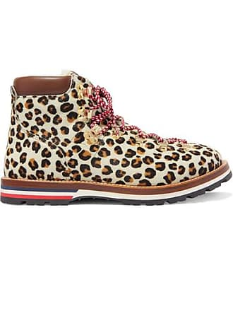 Moncler Blanche Shearling-lined Calf Hair Ankle Boots - Leopard print