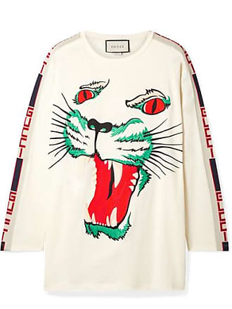 73b8c96eaa99 Gucci Intarsia-trimmed Embroidered Cotton-jersey Top - Cream