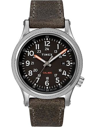 Timex Watch Mens Allied Lt 40MM Leather Strap Silver-Tone/gray/black Item Tw2T33200Vq