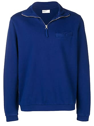 Universal Works Zip Neck Diag Loopback sweatshirt - Azul