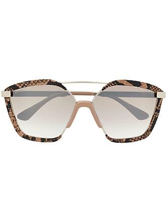 Jimmy Choo London Óculos de sol com estampa de cobra - Marrom