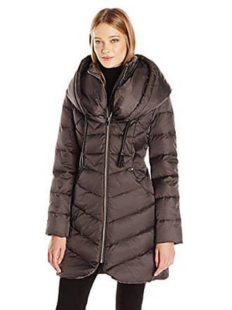 Via Spiga Womens Oversized Hood Chevron Quilted Down Coat, Concrete, X-Small