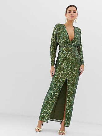 9250875daeb4 Asos maxi dress with batwing sleeve and wrap waist in scatter sequin - Green