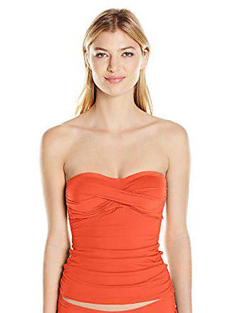 ab1566a074a87 Anne Cole Womens Solid Twist Front Shirred Bandeau Tankini Swim Top, Orange  2, X