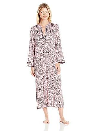 Oscar De La Renta Pink Label Womens Knit Caftan, Light Pink Ground Animal Print, Small/Medium